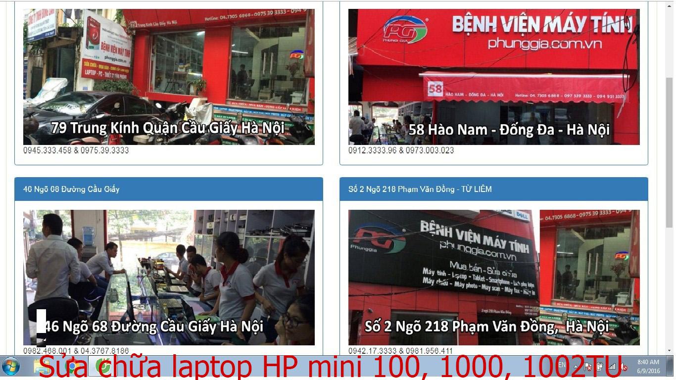 sửa chữa laptop HP mini 100, 1000, 1002TU, 1003TU