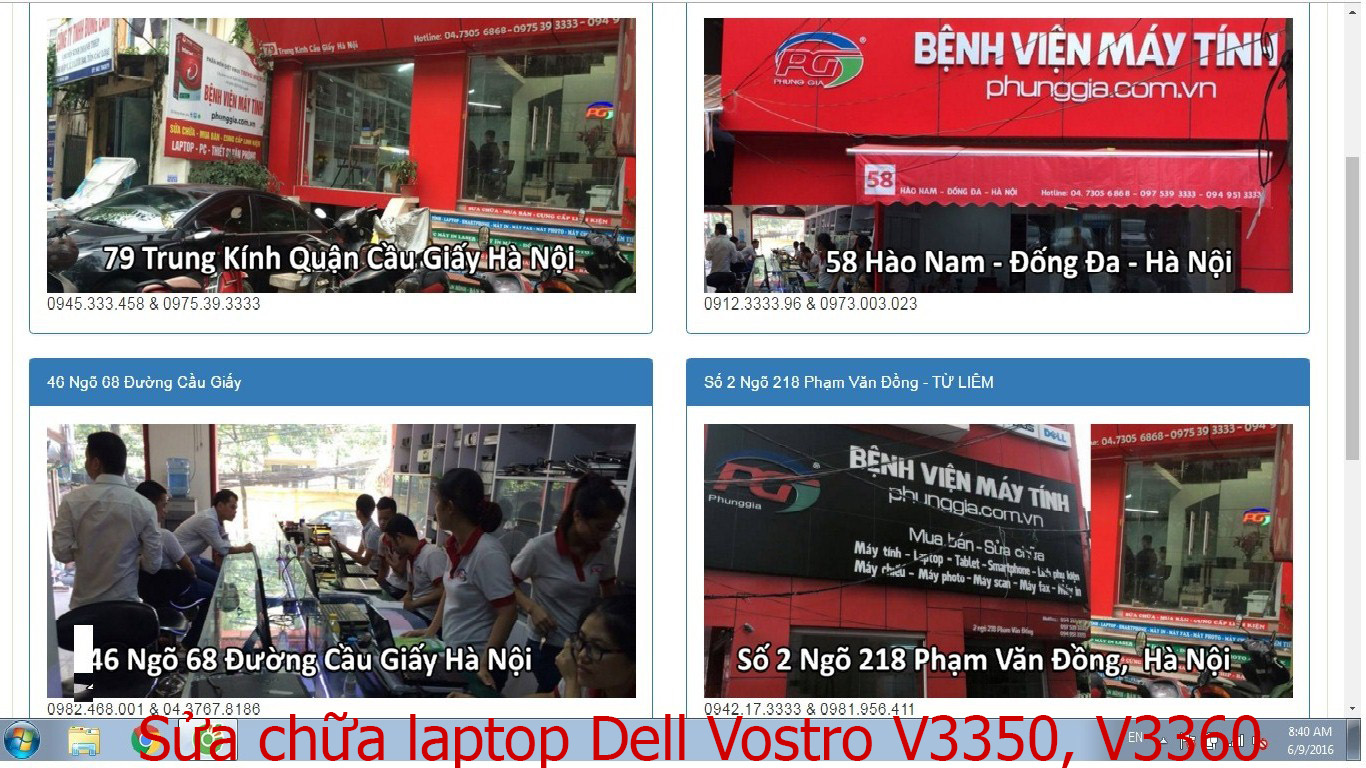 sửa chữa laptop Dell Vostro V3350, V3360, V3400, V3460
